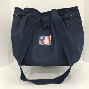 Ralph Lauren Blue PVC Bucket Tote Beach Bag